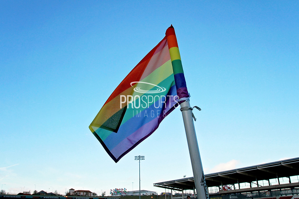 Rainbow Laces corner flag before the EFL Sky Bet League 1 match between Northampton Town and Bury at Sixfields Stadium, Northampton, England on 25 November 2017. Photo by Nigel Cole.