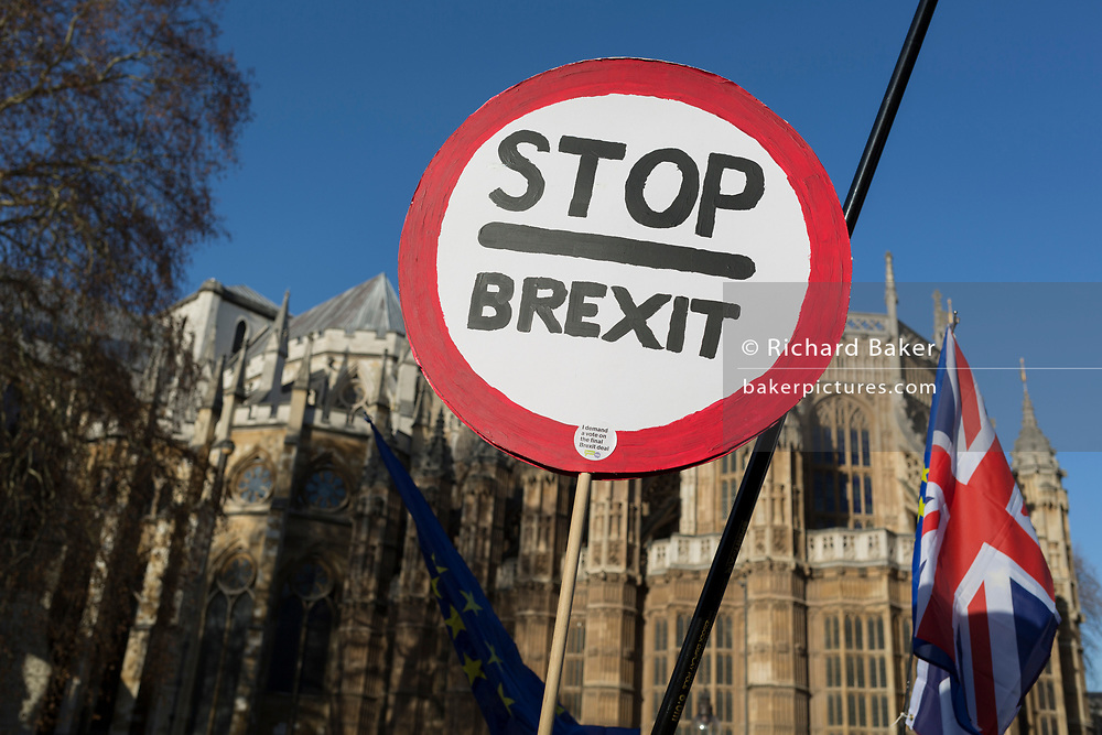 As Prime Minister Theresa May tours European capitals hoping to persuade foreign leaders to accept a new Brexit deal (following her cancellation of a Parliamentary vote), pro-EU Remainers and Brexiteers protest opposite the Houses of Parliament, on 11th December 2018, in London, England.
