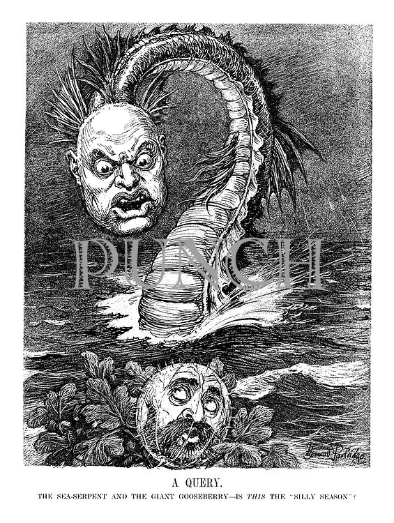 "A Query. The sea-serpent and the giant gooseberry - is THIS the ""silly season""? (Emperor Haile Selassi ponders the threat of invasion from Mussolini)"