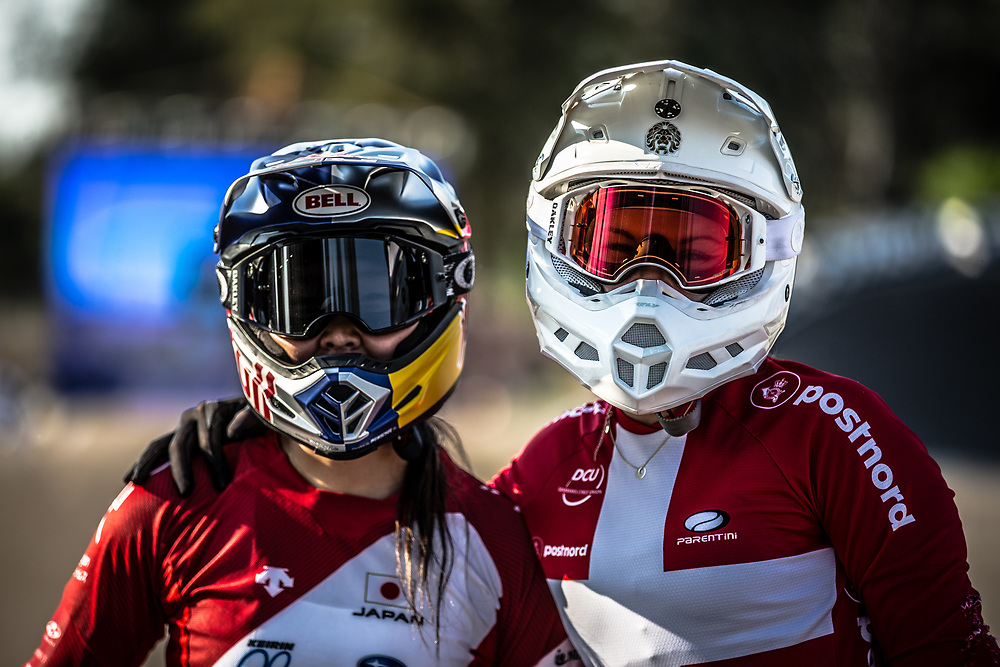#85 (HATAKEYAMA Sae) JPN and #210 (CHRISTENSEN Simone Tetsche) DEN at Round 10 of the 2019 UCI BMX Supercross World Cup in Santiago del Estero, Argentina
