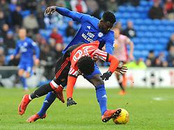 Bruno Ecuele Manga of Cardiff City tackles Josh Maja of Sunderland - Mandatory by-line: Nizaam Jones/JMP- 13/01/2018 -  FOOTBALL - Cardiff City Stadium - Cardiff, Wales -  Cardiff City v Sunderland - Sky Bet Championship