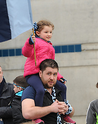 High flying Westport fans Willy Halloran with his niece at Croke park on sunday.<br />Pic Conor McKeown