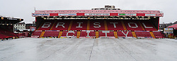 Ashton Gate with a plastic cover on it to protect the pitch from heavy rain - Photo mandatory by-line: Dougie Allward/JMP - Tel: Mobile: 07966 386802 29/12/2012 - SPORT - FOOTBALL - Ashton Gate - Bristol -  Bristol City v Peterborough United - Championship.