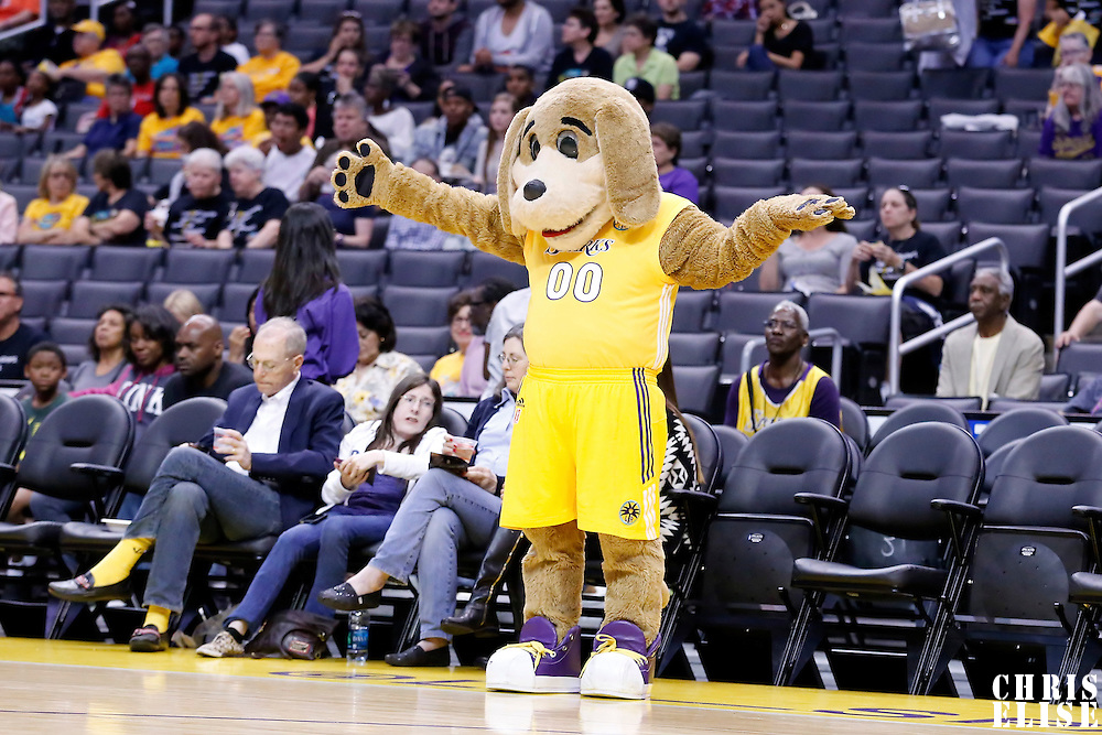 25 May 2014: Mascot Sparky is seen during the Los Angeles Sparks 83-62 victory over the San Antonio Stars, at the Staples Center, Los Angeles, California, USA.