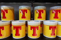 Tennents's lager mugs for sale at gift shop att new visitors' centre at Tennent Caledonian Breweries  Wellpark Brewery in Glasgow, Scotland, UK *Editorial Use Only*