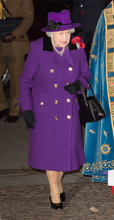 © Licensed to London News Pictures. 11/11/2018. London, UK. Queen Elizabeth II attends a Westminster Abbey Service to mark the Centenary of the Armistice ending World War I. Photo credit: Ray Tang/LNP