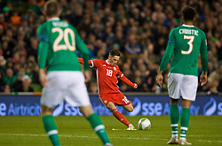 DUBLIN, IRELAND - Tuesday, October 16, 2018: Wales' Harry Wilson scores the winning goal from a free-kick during the UEFA Nations League Group Stage League B Group 4 match between Republic of Ireland and Wales at the Aviva Stadium. Wales won 1-0. (Pic by David Rawcliffe/Propaganda)