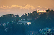 Dawn view over Darjeeling towards the peak of Kanchenjunga, Himalaya region, West Bengal, India