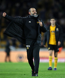 Wolverhampton Wanderers manager Nuno Espirito Santo celebrates victory during the Emirates FA Cup, third round match at Molineux, Wolverhampton.