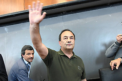 Italy, Rome - May 13, 2019.Riace suspended mayor Mimmo Lucano to talk at La Sapienza university in Rome.Far-right movement Forza Nuova militant attacks youth during an anti fascist demonstration to support Mimmo Lucano (Credit Image: © Fotogramma/Ropi via ZUMA Press)