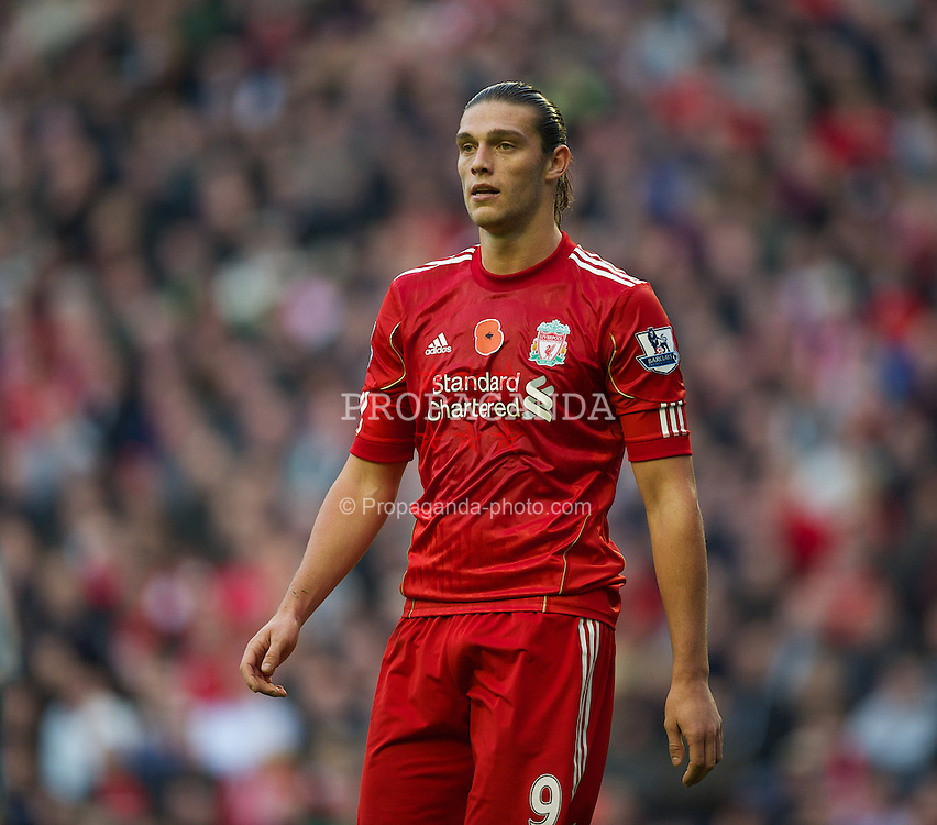 LIVERPOOL, ENGLAND - Saturday, November 5, 2011: Liverpool's Andy Carroll in action against Swansea City during the Premiership match at Anfield. (Pic by David Rawcliffe/Propaganda)