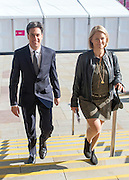 © Licensed to London News Pictures. 21/09/2014. Manchester, UK. Party Leader Ed Miliband arrives at Labour Party Conference 2014 at the Manchester Convention Centre today 21 September 2014. Photo credit : Stephen Simpson/LNP