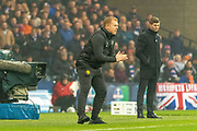 Celtic Manager Neil Lennon encourages his side during the Betfred Scottish League Cup Final match between Rangers and Celtic at Hampden Park, Glasgow, United Kingdom on 8 December 2019.