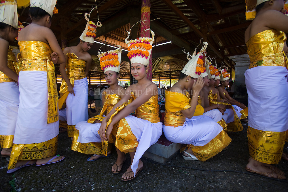 Dancers at the Pura Besakih Temple on Bali, Indonesia.