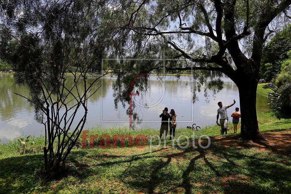Pessoas aproveitam a manhã no Parque do Ibirapuera, zona sul da capital, durante domingo de forte calor na capital paulista. Nelson Antoine/Frame