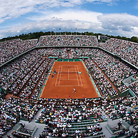 31 May 2009: General view of Court Philippe Chatrier during the men's Singles fourth round match on day eight of the French Open at Roland Garros in Paris, France.