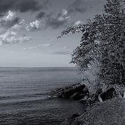 """Presque Isle Park Beauty""<br /> <br /> A beautiful black and white photograph of scenic Presque Isle Park in Marquette Michigan! A wonderful Great Lakes landscape!"