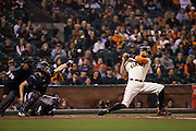 San Francisco Giants right fielder Hunter Pence (8) ducks under a high pitch against the Colorado Rockies at AT&T Park in San Francisco, Calif., on September 27, 2016. (Stan Olszewski/Special to S.F. Examiner)