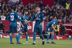 May 9, 2018 - Seville, Spain - SERGIO RAMOS (R ) and MATEO KOVACIC (L ) of Real Madrid celebrate after scoring 3-1 during the La Liga soccer match between Sevilla FC and Real Madrid at Sanchez Pizjuan Stadium (Credit Image: © Daniel Gonzalez Acuna via ZUMA Wire)