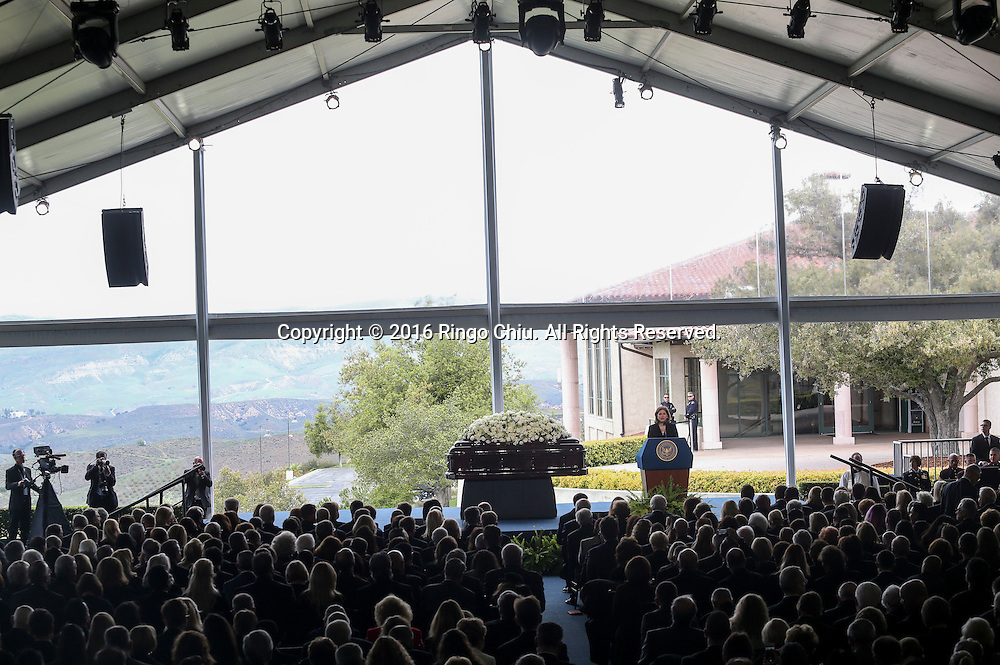 Katie Couric speaks during a funeral service for the former first lady Nancy Reagan at the Ronald Reagan Presidential Library and Museum in Simi Valley, California on March 11, 2016. Reagan died of congestive heart failure in her sleep at her Bel Air home Sunday at age 94. A bout 1,000 guests from the world of politics attended the final farewell to Nancy Reagan as the former first lady is eulogized and laid to rest next to her husband at his presidential library.<br />    (Photo by Ringo Chiu/PHOTOFORMULA.com)<br /> <br /> Usage Notes: This content is intended for editorial use only. For other uses, additional clearances may be required.
