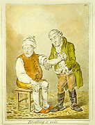 Breathing a Vein' Blood letting. Physician bleeding a patient from the arm, 1804.  Cartoon by James Gillray (1757-1815) English caricaturist.