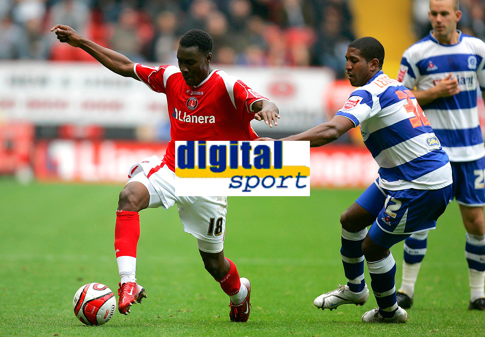 Photo: Tom Dulat.<br /> <br /> Charlton Athletic v Queens Park Rangers. Coca Cola Championship. 27/10/2007.<br /> <br /> Mikele Leigertwood of Queens Park Rangers holds back lloyd Sam of Charlton Athletic.