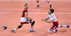Fabian Drzyzga #11, Michal Kubiak #13 during volleyball match between National teams of Poland and Slovenia in Quarterfinals of 2015 CEV Volleyball European Championship - Men, on October 14, 2015 in Arena Armeec, Sofia, Bulgaria. Photo by Ronald Hoogendoorn / Sportida