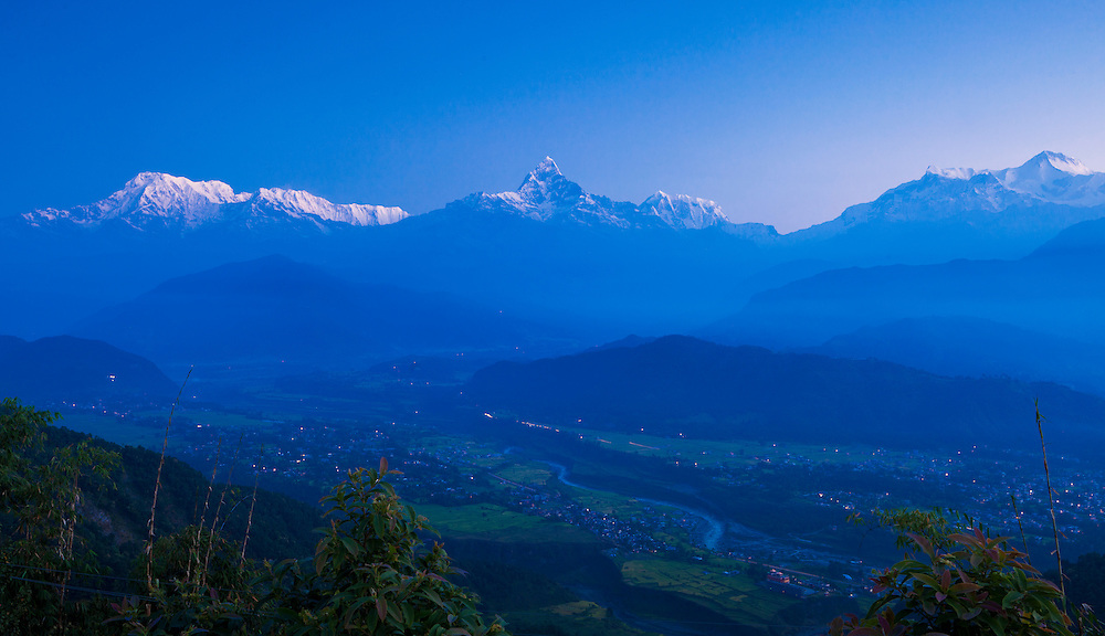 The Annapurna Range in the Himalayas as viewed from Sarangkot.