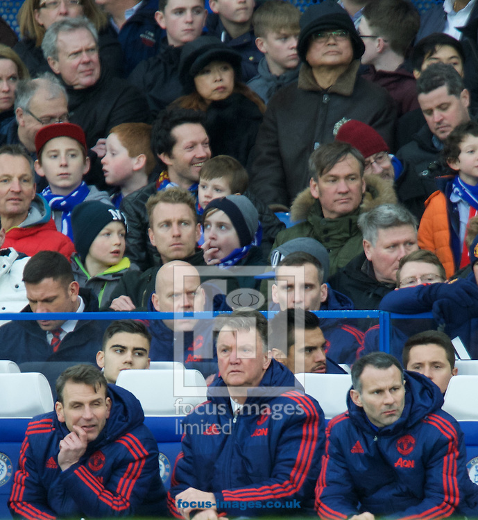 Manager Louis van Gaal of Manchester United (middle) and Ryan Giggs (right) during the Barclays Premier League match at Stamford Bridge, London<br /> Picture by Alan Stanford/Focus Images Ltd +44 7915 056117<br /> 07/02/2016