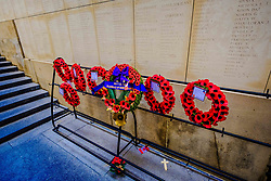 The Menen Gate in Ypres, Belgium.  Memorial to the Missing is a war memorial in Ypres, Belgium, dedicated to the British and Commonwealth soldiers who were killed in the Ypres Salient of World War One and whose graves are unknown.<br /> <br /> (c) Andrew Wilson | Edinburgh Elite media