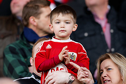 A young Bristol City fan looks on before the match - Photo mandatory by-line: Rogan Thomson/JMP - 07966 386802 - 25/01/2015 - SPORT - FOOTBALL - Bristol, England - Ashton Gate Stadium - Bristol City v West Ham United - FA Cup Fourth Round Proper.