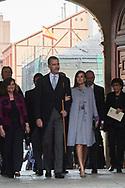 King Felipe VI of Spain, Queen Letizia of Spain attends 'Cervantes Award' to Ida Vitale at Alcala de Henares University on April 23, 2019 in Alcala de Henares, Spain