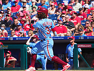 June 14, 2018 - Philadelphia, PA, U.S. - PHILADELPHIA, PA - JUNE 14: Philadelphia Phillies Center field Odubel Herrera (37) hits a single during the MLB baseball game between the Philadelphia Phillies and the Colorado Rockies on June 14, 2018 at Citizens Bank Park in Philadelphia, PA. The Phillies won 9-3. (Photo by Andy Lewis/Icon Sportswire) (Credit Image: © Andy Lewis/Icon SMI via ZUMA Press)