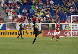 August 5, 2018 - Harrison, New Jersey, United States - Carlos Vela (10) of LAFC kicks ball during regular MLS game against Red Bulls at Red Bull Arena Red Bulls won 2 - 1  (Credit Image: © Lev Radin/Pacific Press via ZUMA Wire)
