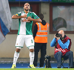 07.11.2013, Ernst Happel Stadion, Wien, AUT, UEFA Europa League, SK Rapid Wien vs KRC Genk, Gruppe G, im Bild Torjubel Terrence Boyd, (SK Rapid Wien, #9) // during a UEFA Europa League group G game between SK Rapid Vienna and KRC Genk at the Ernst Happel Stadion, Wien, Austria on 2013/11/07. EXPA Pictures © 2013, PhotoCredit: EXPA/ Thomas Haumer