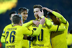 18.02.2016, Signal-Iduna-Stadion, Dortmund, GER, UEFA EL, Borussia Dortmund vs FC Porto, Sechzehntelfinale, Hinspiel, im Bild Jubel uebr das Tor zum 2:0 durch Marco Reus (#11, Borussia Dortmund) mit Moritz Leitner (#14, Borussia Dortmund), Lukasz Piszczek (#26, Borussia Dortmund), Henrikh Mkhitaryan (#10, Borussia Dortmund), und Shiji Kagawa (#23, Borussia Dortmund) // during the UEFA Europa League Round of 32, 1st Leg match between Borussia Dortmund and FC Porto at the Signal-Iduna-Stadion in Dortmund, Germany on 2016/02/18. EXPA Pictures © 2016, PhotoCredit: EXPA/ Eibner-Pressefoto/ Deutzmann<br /> <br /> *****ATTENTION - OUT of GER*****