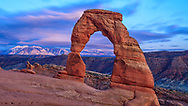 Long exposure sunset at Delicate Arch in Arches National Park