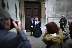 © Licensed to London News Pictures. 27/09/2015. London, UK. A couple dressed as Queen Victoria and her Aide de Camp are photographed before a Harvest Festival celebration. Photo credit: Peter Macdiarmid/LNP