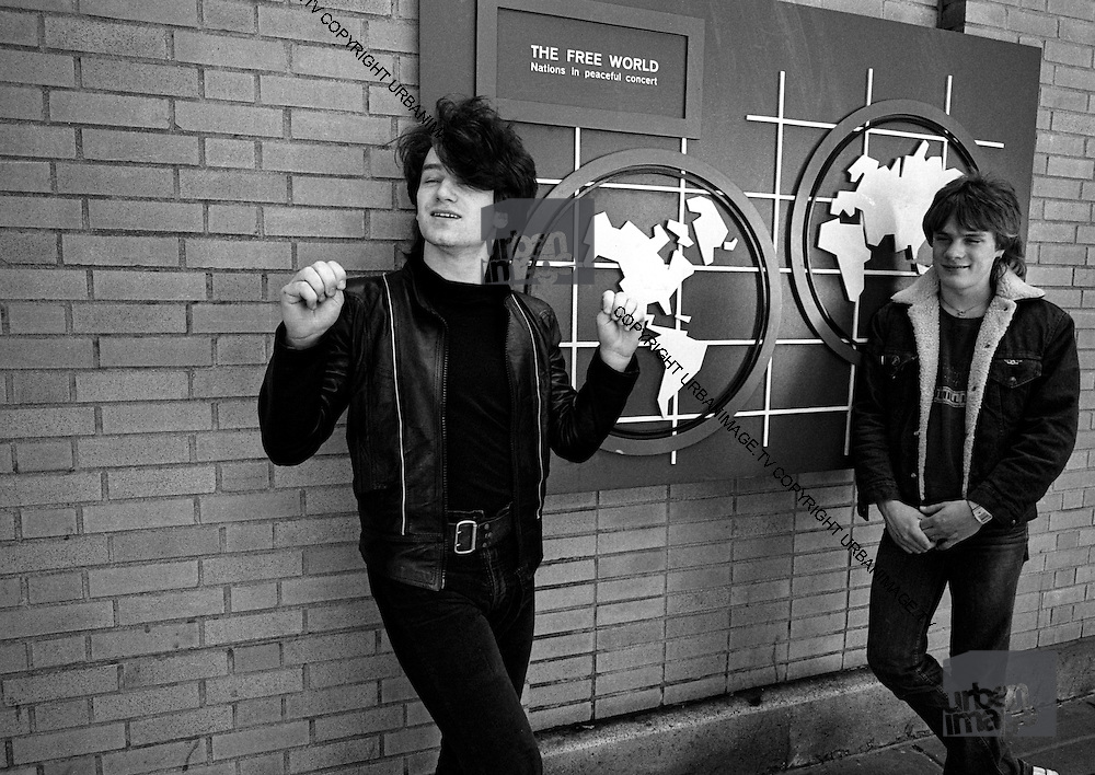 U2  - Photo of Bono and Larry Mullen  - USA tour photosessions in Chicago - December 1981