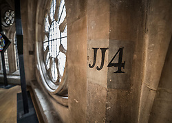 © Licensed to London News Pictures. 29/05/2018. London, UK. Numbers painted on the walls indicate viewing bays for ticket holders at coronations in the new Queen's Diamond Jubilee Galleries in Westminster Abbey. The recently finished galleries situated in 13th century triforium, 52 feet above the abbey floor, will display treasures not seen by the public before and tell the story of abbey's thousand-year history. Photo credit: Peter Macdiarmid/LNP
