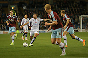 Milton Keynes Dons midfielder Samir Carruthers lines a shot up  during the Sky Bet Championship match between Burnley and Milton Keynes Dons at Turf Moor, Burnley, England on 15 September 2015. Photo by Simon Davies.