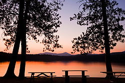 Picnic benches after sunset at White Lake State Park in Tamworth, New Hampshire.