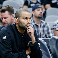 04 April 2017: San Antonio Spurs guard Tony Parker (9) is seen on the bench prior to the San Antonio Spurs 95-89 OT victory over the Memphis Grizzlies, at the AT&T Center, San Antonio, Texas, USA.