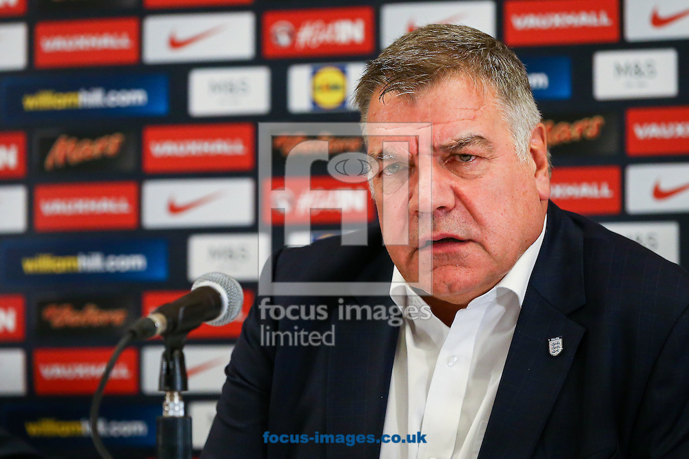 England manager, Sam Allardyce, has left his post following a meeting of the FA management after a newspaper investigation into alleged inappropriate advice about player transfers.<br /> Gareth Southgate will act as caretaker.<br /> Picture by Focus Images/Focus Images Ltd 07814 482222<br /> 27/09/2016<br /> <br /> File image for live news<br /> <br /> Original caption:<br /> <br /> Sam Allardyce during The FA press conference to introduce Sam Allardyce as England Manager at the Hilton Hotel,  St Georges Park, Burton upon Trent, UK<br /> Picture by Andy Kearns/Focus Images Ltd 0781 864 4264<br /> 25/07/2016