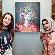 Noura Al-Abdulhadi and Mounir Al Shaarani is a artist exhibition at the London Arabia Art & Fashion Week 2019 at Jumeirah Carlton Tower, on 5 August 2019, London, UK.