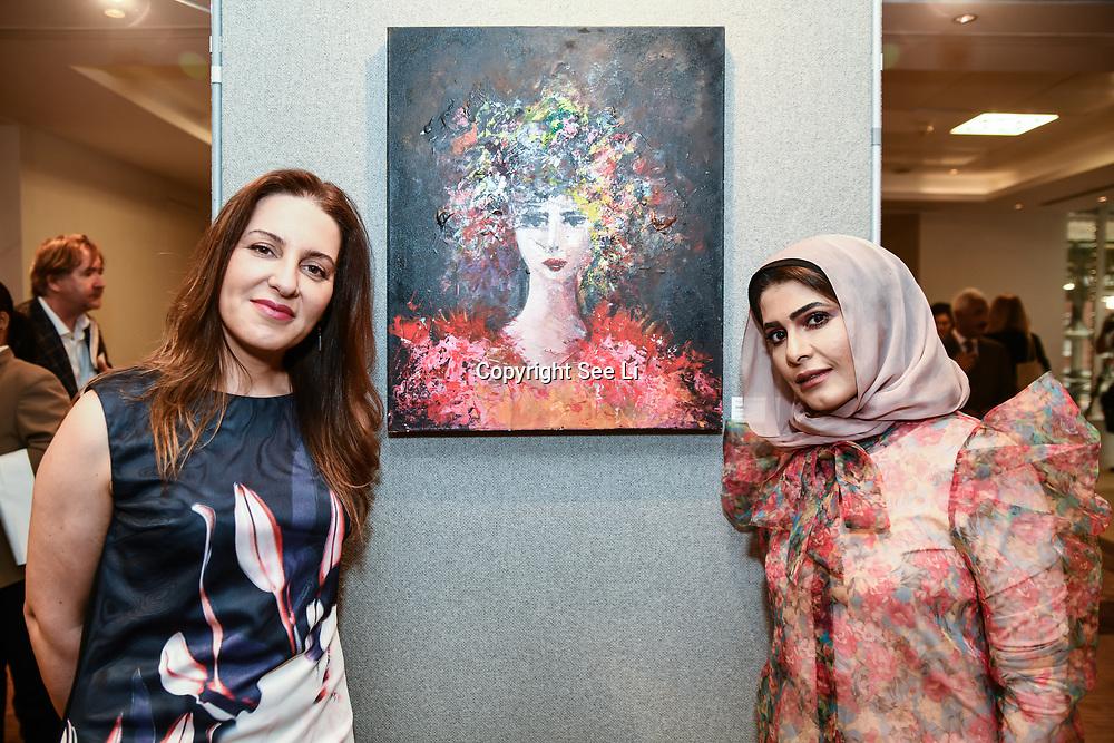 Noura Al-Abdulhadi and Mounir Al Shaarani is a artist exhibition at the London Arabia Art & Fashion Week 2019 at Jumeirah Carlton Tower, on 5 August 2019, London, UK.