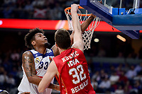 Real Madrid's Trey Thompkins and Crvena Zvezda Mts Belgrade's Ognjen Kuzmic during Turkish Airlines Euroleague match between Real Madrid and Crvena Zvezda Mts Belgrade at Wizink Center in Madrid, Spain. March 10, 2017. (ALTERPHOTOS/BorjaB.Hojas)