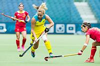 BRUSSEL - Kate Hanna (Aus.) with Rocio YBARRA (SPA)   during AUSTRALIA v SPAIN , Fintro Hockey World League Semi-Final (women) . COPYRIGHT KOEN SUYK