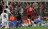 Photo: Paul Thomas/Sportsbeat Images.<br /> Liverpool v Besiktas. UEFA Champions League. 06/11/2007.<br /> <br /> Peter Crouch (15) of Liverpool has this shot blocked by keeper Hakan Arikan of Besiktas, but scores on the follow up.