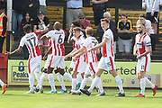 Mohamed Eisa celebrates his CTFC record goal during the EFL Sky Bet League 2 match between Cambridge United and Cheltenham Town at the Cambs Glass Stadium, Cambridge, England on 21 April 2018. Picture by Antony Thompson.